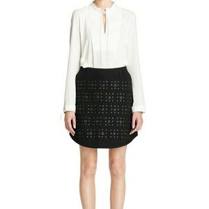 Coach Black Shirttail Hem Skirt with Grommets